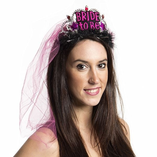 Details about  /Hen Party Pink Fluffy Bride To Be Tiara