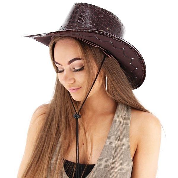 Dark Maroon Shiny Leather Effect Cowboy Hat