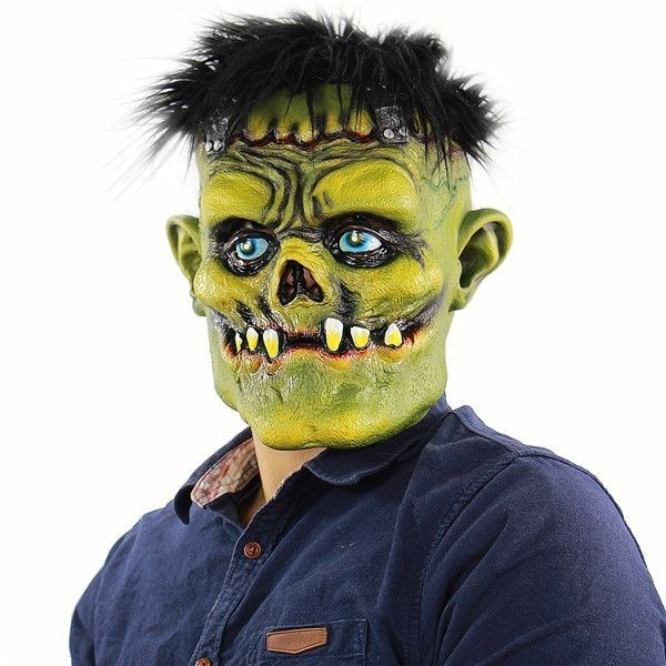 Hair Halloween Fancy Dress Costume Adult Latex Decaying Zombie Mask