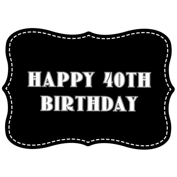 Happy 40th Birthday Vintage Style Photo Booth Prop