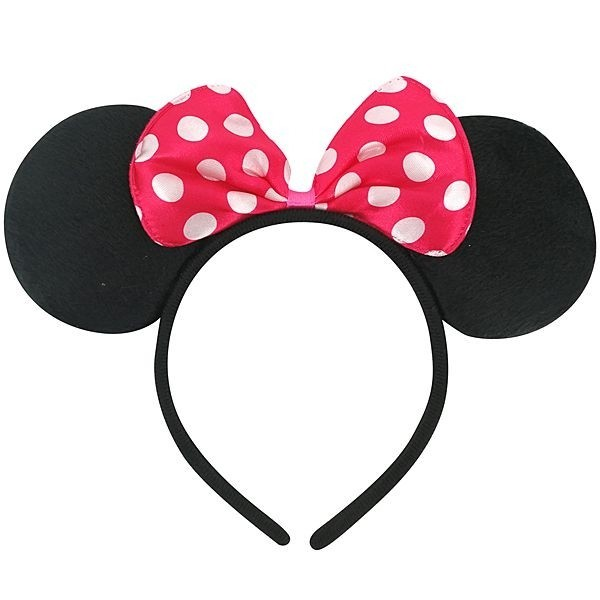 Black mini mouse ears with red spotty bows Fancy Dress Costume Accessory