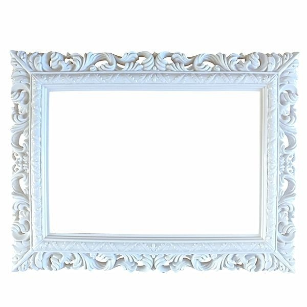 White Antique Style Square Posing Frame